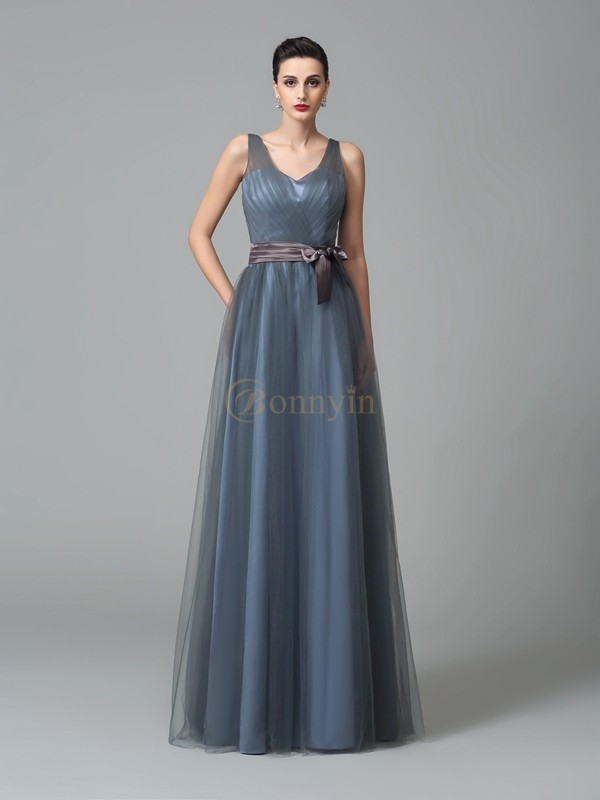 Blue Net Straps A-Line/Princess Floor-Length Bridesmaid Dresses