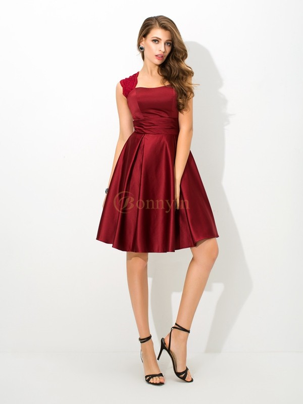 Burgundy Satin Straps A-Line/Princess Short/Mini Bridesmaid Dresses