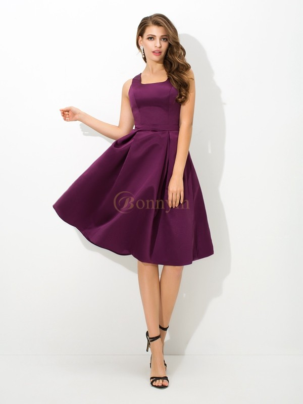 Grape Satin Square A-Line/Princess Knee-Length Bridesmaid Dresses