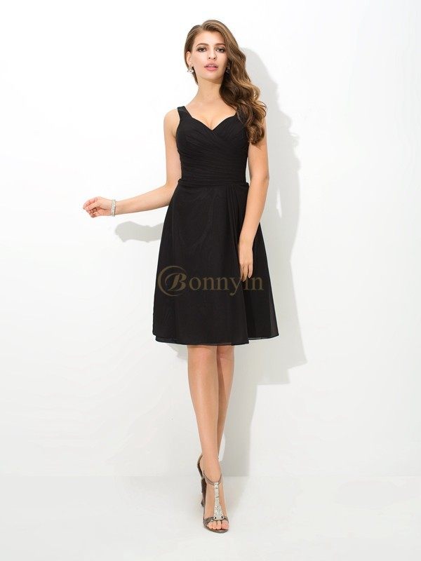 Black Chiffon V-neck A-Line/Princess Knee-Length Bridesmaid Dresses