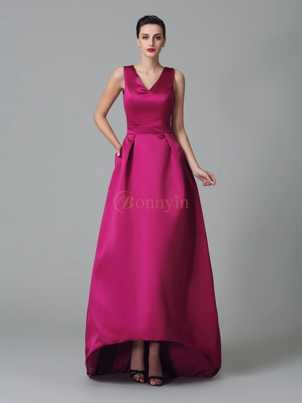 Fuchsia Satin Straps A-Line/Princess Asymmetrical Bridesmaid Dresses