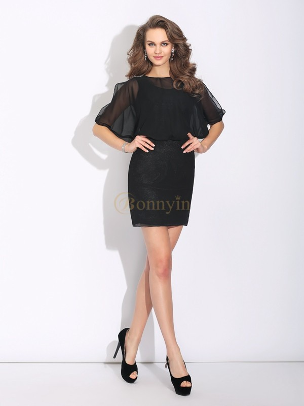 Black Chiffon Jewel A-Line/Princess Short/Mini Cocktail Dresses