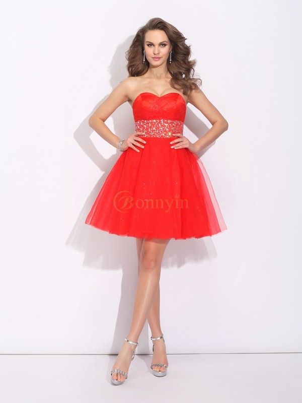 Red Net Sweetheart A-Line/Princess Short/Mini Cocktail Dresses