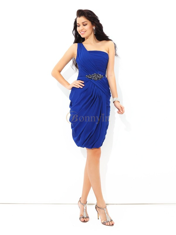 Royal Blue Chiffon One-Shoulder Sheath/Column Short/Mini Cocktail Dresses