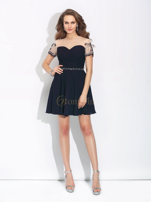Dark Navy Chiffon Jewel A-Line/Princess Short/Mini Cocktail Dresses