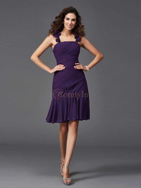 Grape Chiffon Straps Sheath/Column Short/Mini Cocktail Dresses