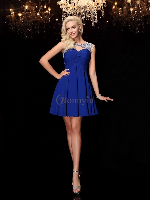 Royal Blue Chiffon Scoop A-Line/Princess Short/Mini Cocktail Dresses