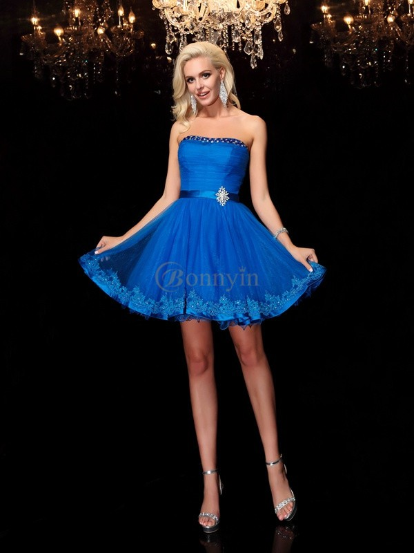 Royal Blue Net Strapless A-Line/Princess Short/Mini Cocktail Dresses