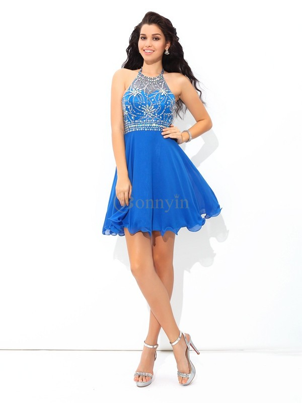Royal Blue Chiffon Halter A-Line/Princess Short/Mini Cocktail Dresses