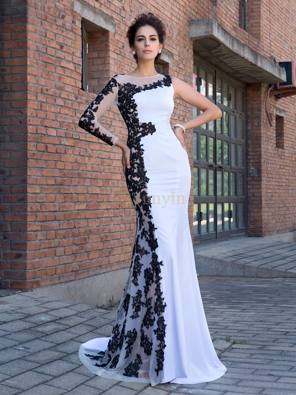 White Chiffon Scoop Trumpet/Mermaid Sweep/Brush Train Evening Dresses