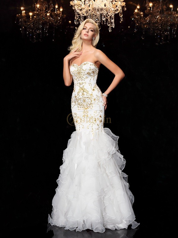 White Organza Sweetheart Trumpet/Mermaid Floor-Length Evening Dresses