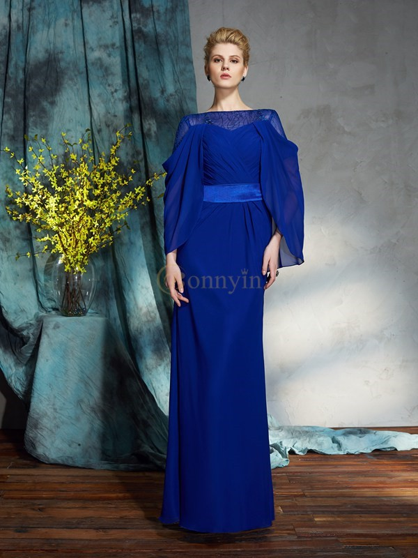 Royal Blue Chiffon Bateau Sheath/Column Floor-Length Evening Dresses