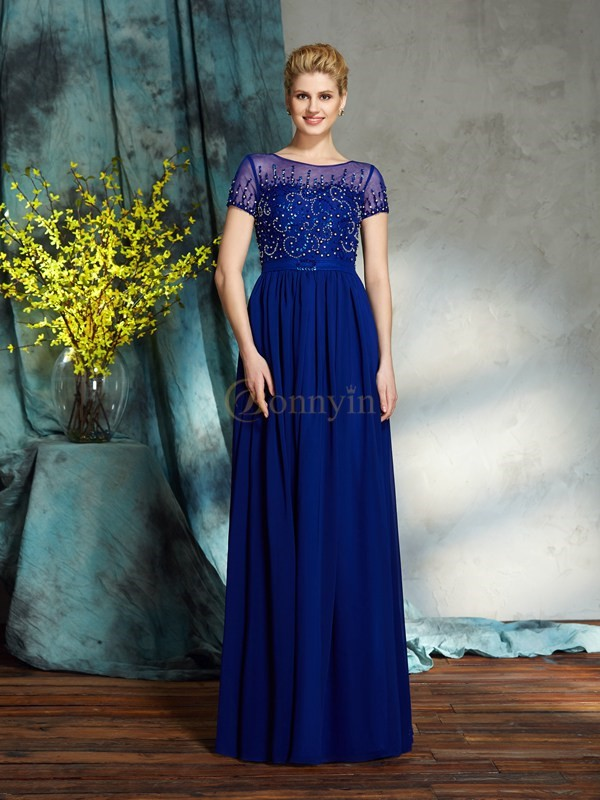Royal Blue Chiffon Scoop A-Line/Princess Floor-Length Mother of the Bride Dresses