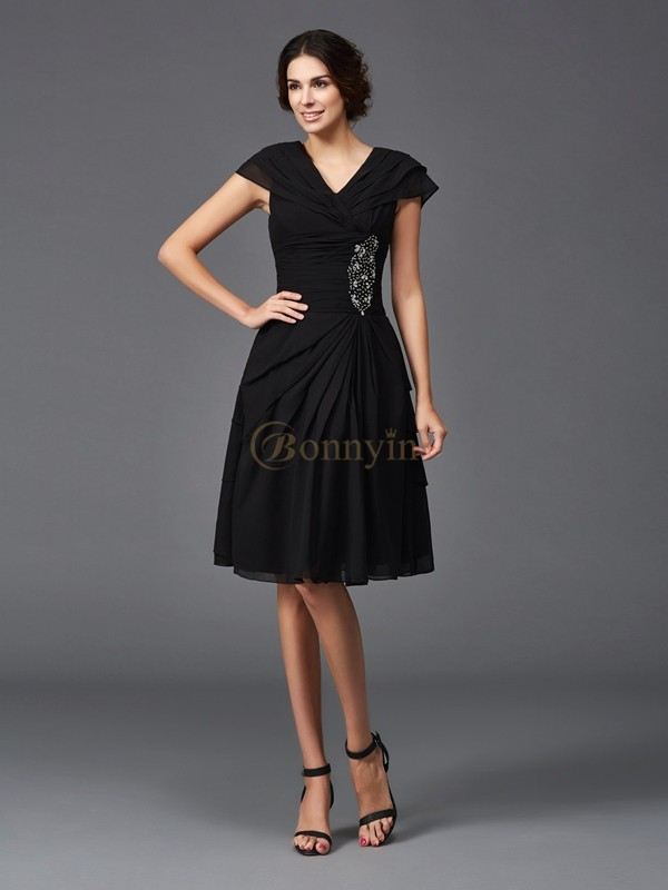 Black Chiffon V-neck A-Line/Princess Knee-Length Mother of the Bride Dresses