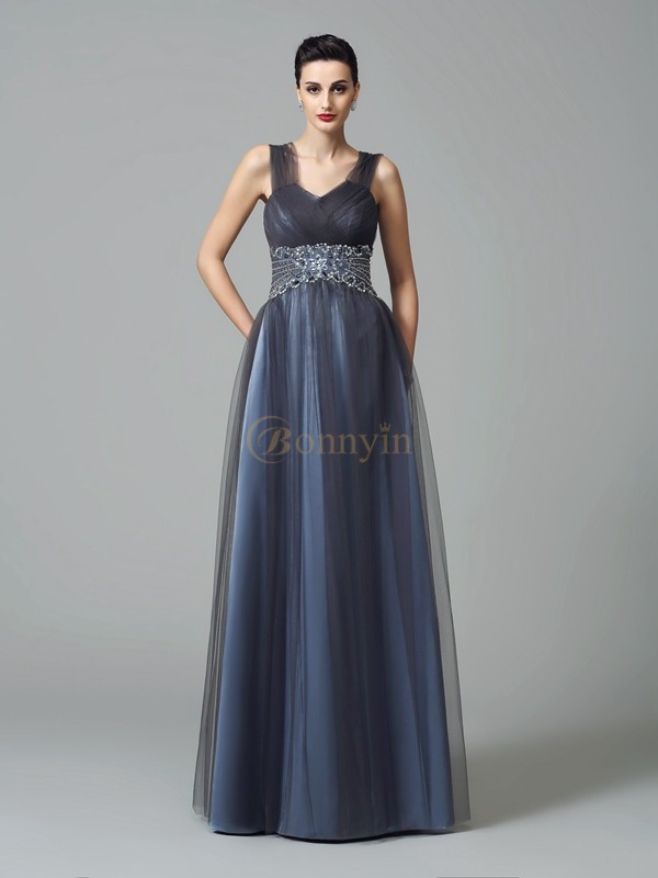 Dark Navy Net Straps A-Line/Princess Floor-Length Mother of the Bride Dresses