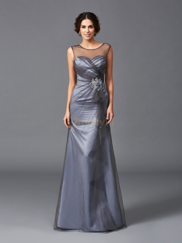 Grey Net Scoop Sheath/Column Floor-Length Mother of the Bride Dresses