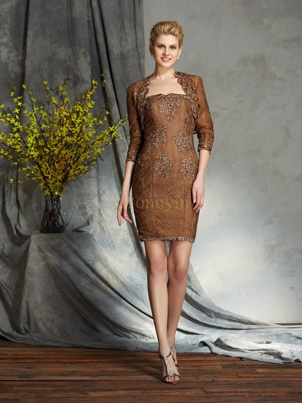 Lace Strapless Sheath/Column Short/Mini Mother of the Bride Dresses