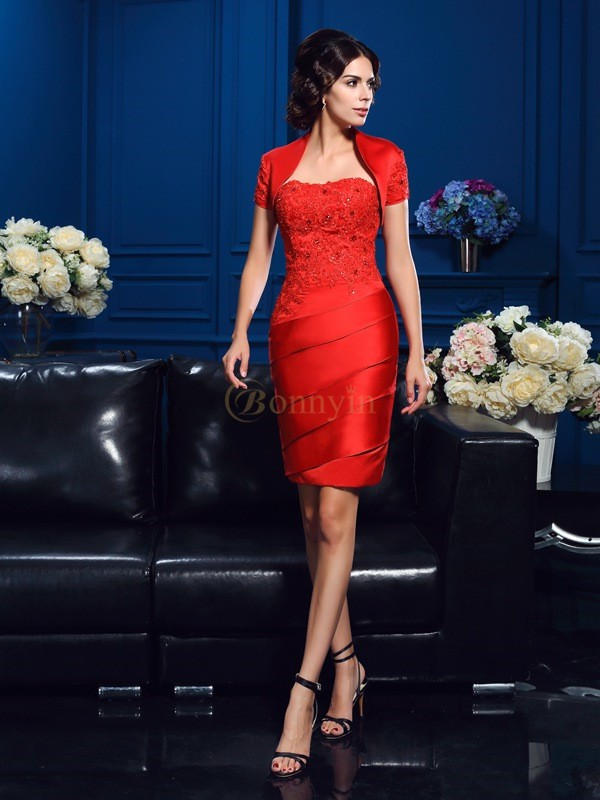 Red Satin Sweetheart Sheath/Column Short/Mini Mother of the Bride Dresses