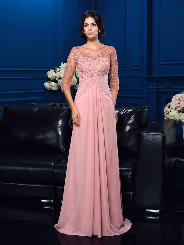 Pearl Pink Chiffon Scoop A-Line/Princess Sweep/Brush Train Mother of the Bride Dresses