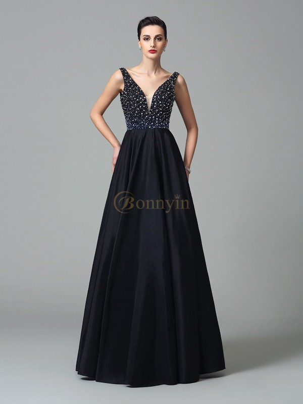 Black Taffeta Straps A-Line/Princess Floor-Length Prom Dresses