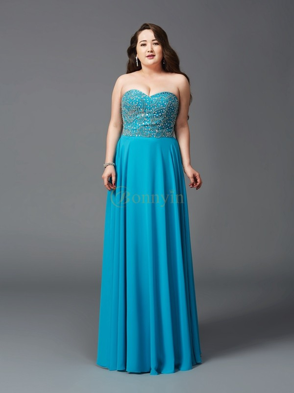 Royal Blue Chiffon Sweetheart A-Line/Princess Floor-Length Prom Dresses