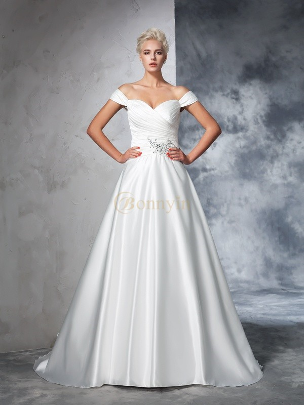 Ivory Taffeta Off the Shoulder Ball Gown Chapel Train Wedding Dresses