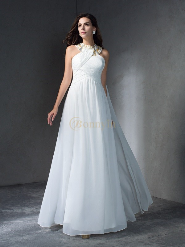 White Chiffon Jewel A-Line/Princess Floor-Length Evening Dresses