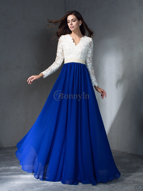 Royal Blue Chiffon V-neck A-Line/Princess Floor-Length Evening Dresses