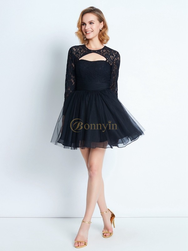Black Net High Neck A-Line/Princess Short/Mini Homecoming Dresses