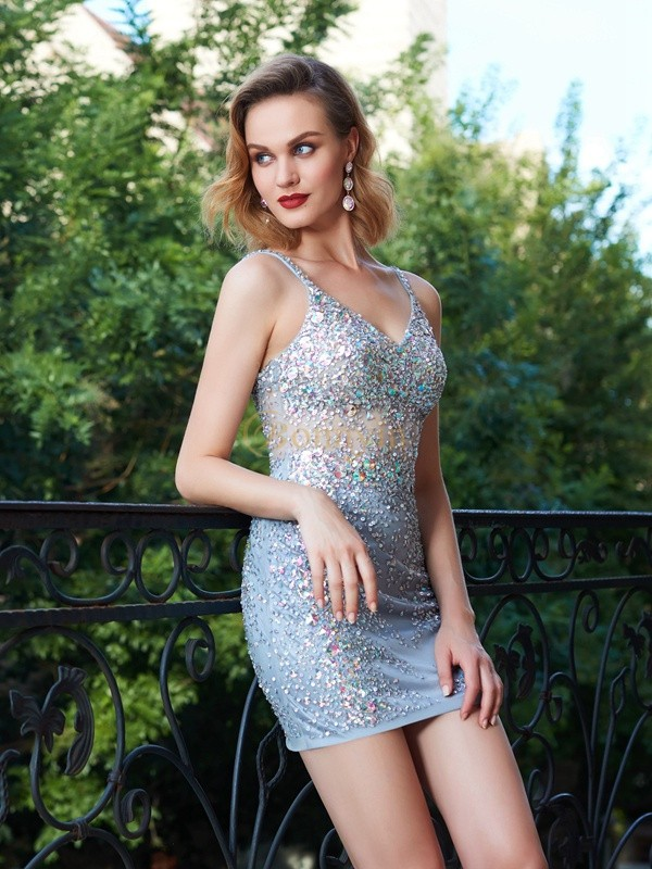 Silver Net Spaghetti Straps Sheath/Column Short/Mini Homecoming Dresses
