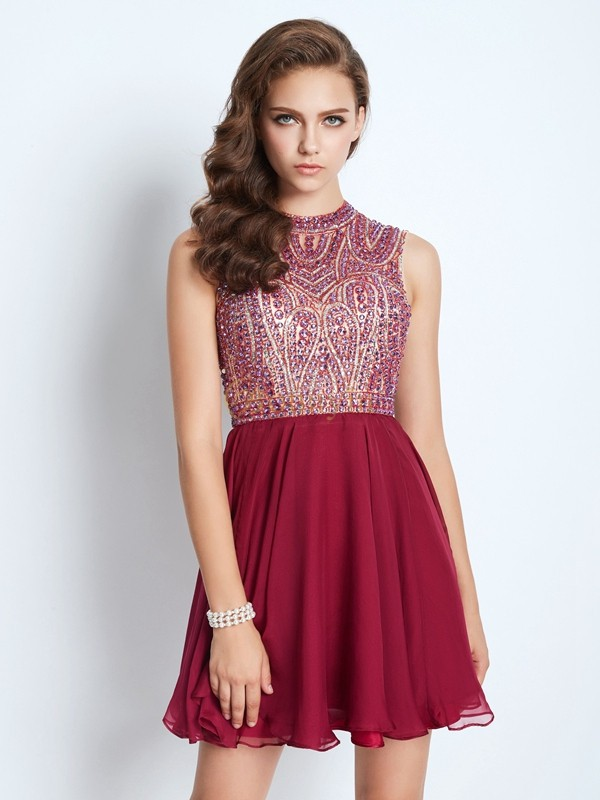 Burgundy Chiffon Jewel A-Line/Princess Short/Mini Homecoming Dresses