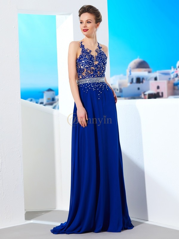 Royal Blue Chiffon Sheer Neck A-Line/Princess Sweep/Brush Train Dresses