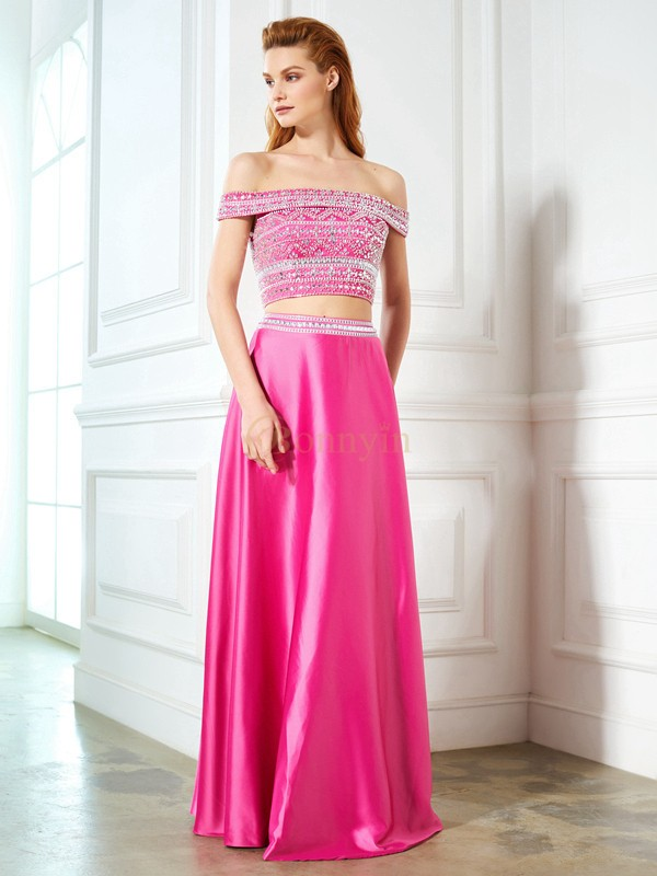 Fuchsia Satin Off-the-Shoulder A-Line/Princess Floor-Length Prom Dresses