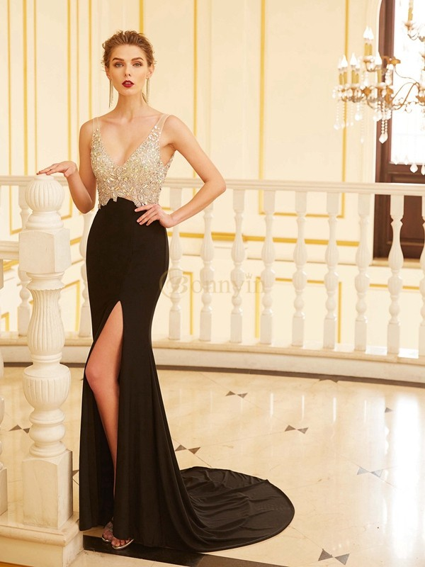 Black Spandex V-neck Sheath/Column Sweep/Brush Train Dresses