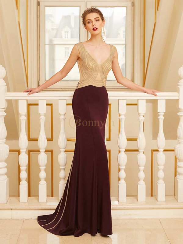 Burgundy Jersey Straps Sheath/Column Sweep/Brush Train Prom Dresses