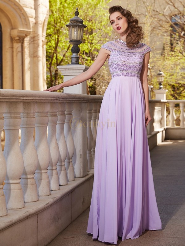 Lilac Chiffon Scoop A-Line/Princess Floor-Length Prom Dresses