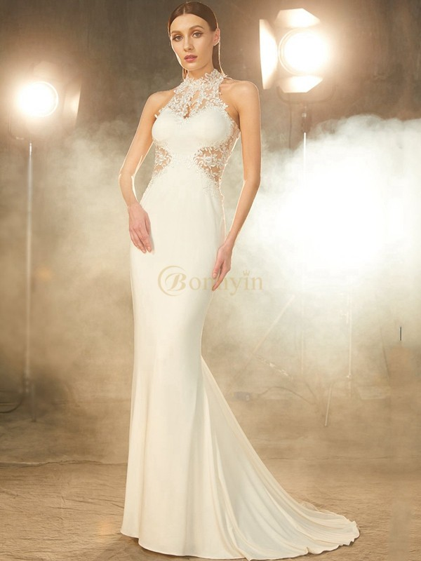Ivory Spandex High Neck Trumpet/Mermaid Sweep/Brush Train Prom Dresses
