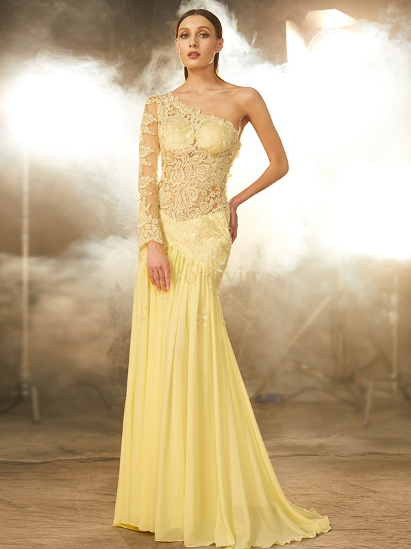 Yellow Chiffon One-Shoulder Sheath/Column Sweep/Brush Train Prom Dresses
