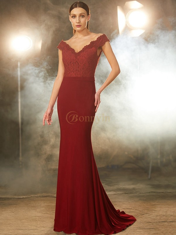 Burgundy Spandex Off-the-Shoulder Trumpet/Mermaid Sweep/Brush Train Prom Dresses