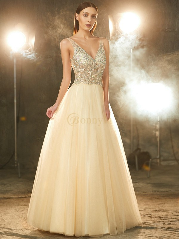 Champagne Tulle V-neck Ball Gown Floor-Length Prom Dresses