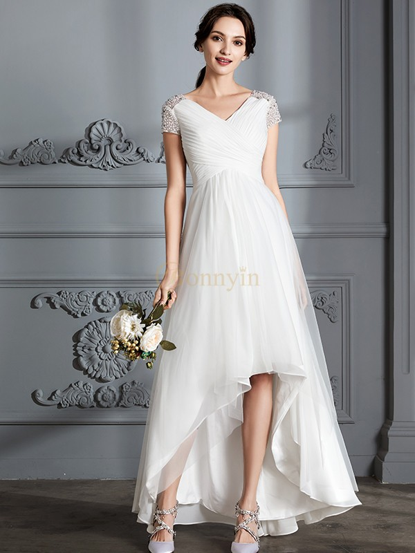 Ivory Tulle V-neck A-Line/Princess Asymmetrical Wedding Dresses