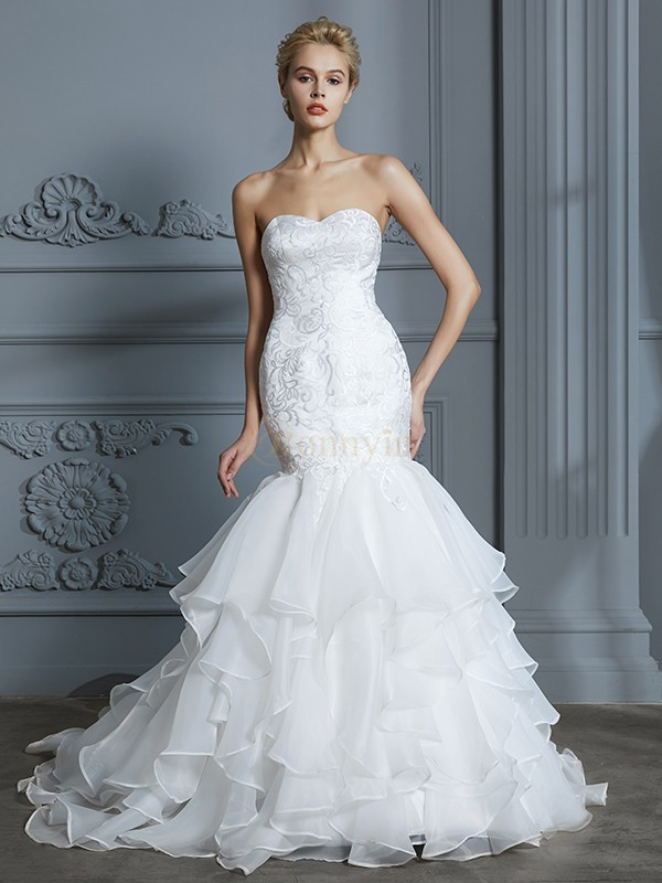 Ivory Organza Sweetheart Trumpet/Mermaid Sweep/Brush Train Wedding Dresses