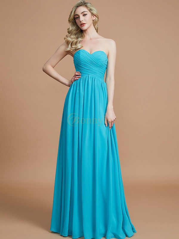 Light Sky Blue Chiffon Sweetheart Empire Floor-Length Bridesmaid Dresses