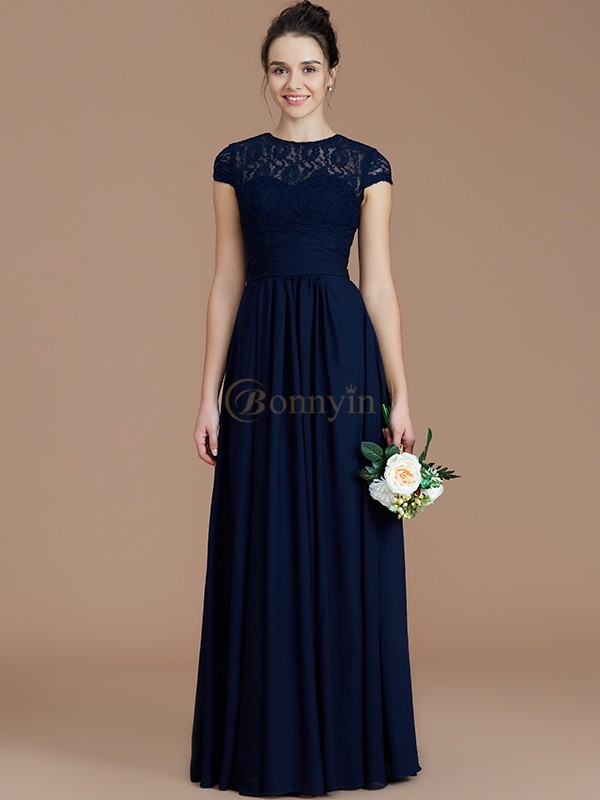 Dark Navy Chiffon Jewel A-Line/Princess Floor-Length Bridesmaid Dresses