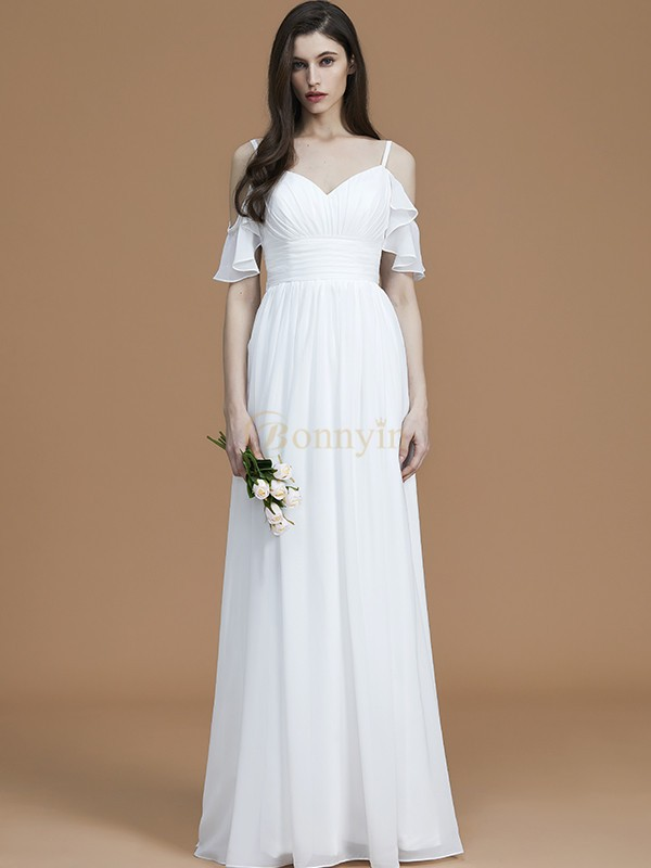 White Chiffon Spaghetti Straps A-Line/Princess Floor-Length Bridesmaid Dresses