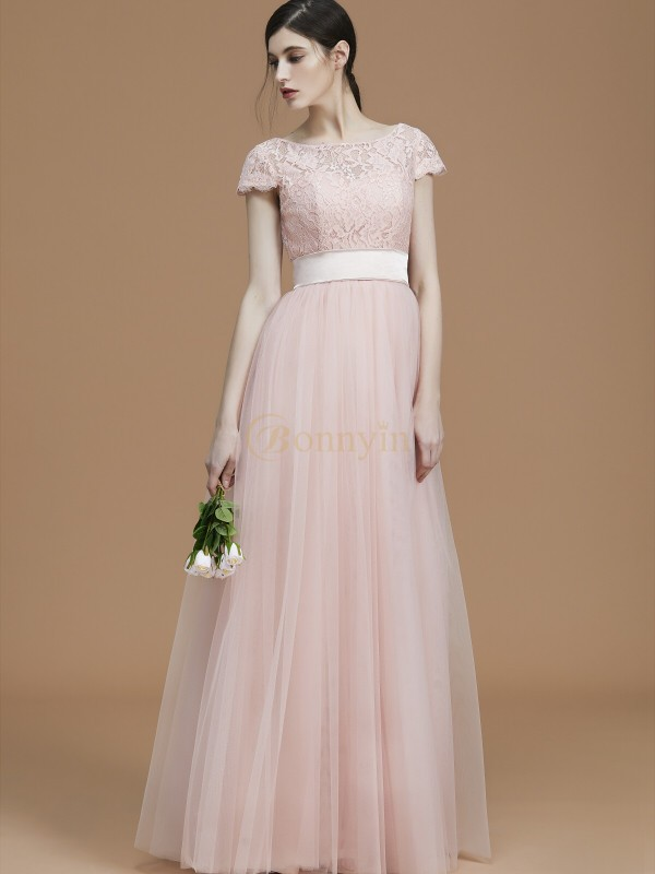Pearl Pink Tulle Bateau A-Line/Princess Floor-Length Bridesmaid Dresses