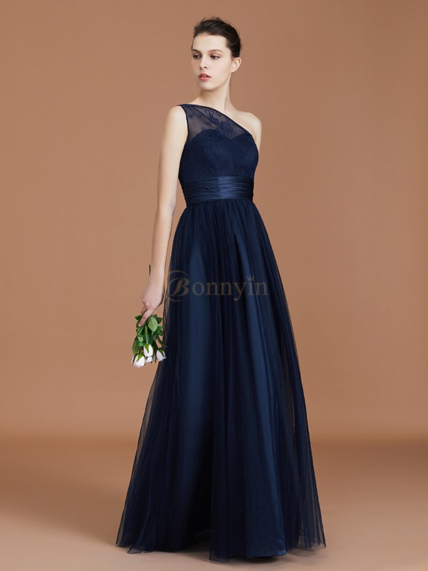 Dark Navy Chiffon One-Shoulder A-Line/Princess Floor-Length Bridesmaid Dresses