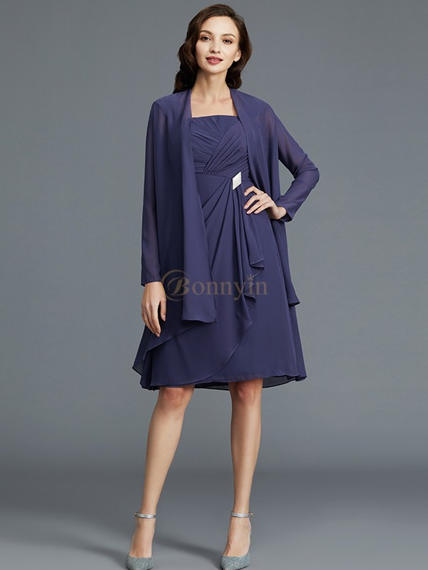 Dark Navy Chiffon Straps Sheath/Column Knee-Length Mother of the Bride Dresses