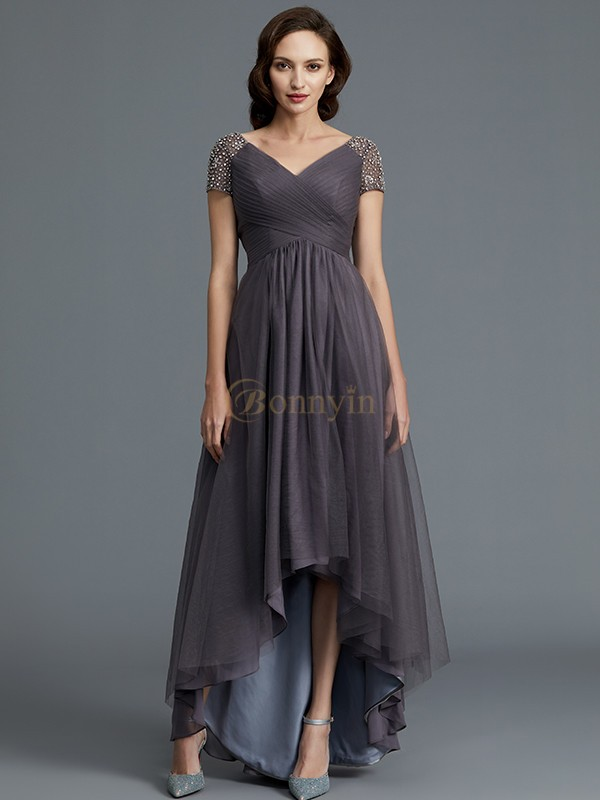 Grey Tulle V-neck A-Line/Princess Asymmetrical Mother of the Bride Dresses