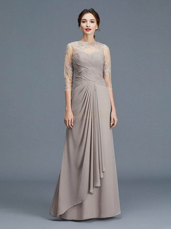 Silver Chiffon Sheer Neck A-Line/Princess Floor-Length Mother of the Bride Dresses